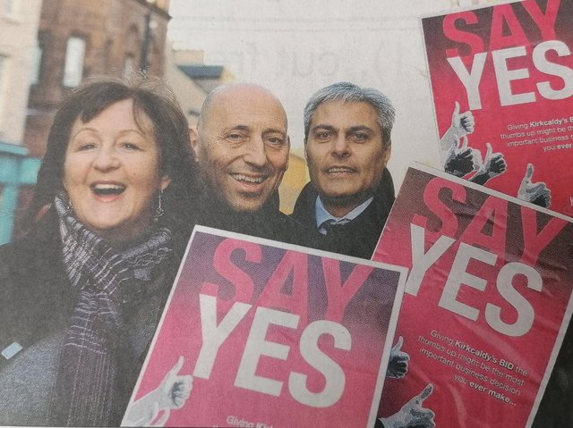 How it all started .... the campaign for a yes vote in the first ever BID ballot in 2010. Linda McIntosh, Dom Panetta and Sunil Varu  get the message across