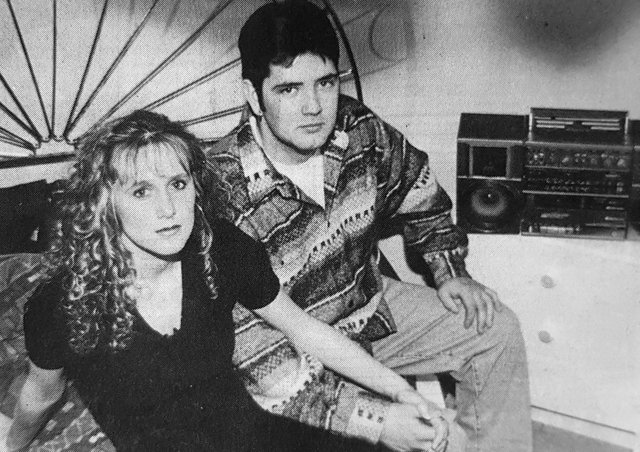 Leah Livingstone and Mark Anderson who complained that Mark's flat was haunted in January 1994.