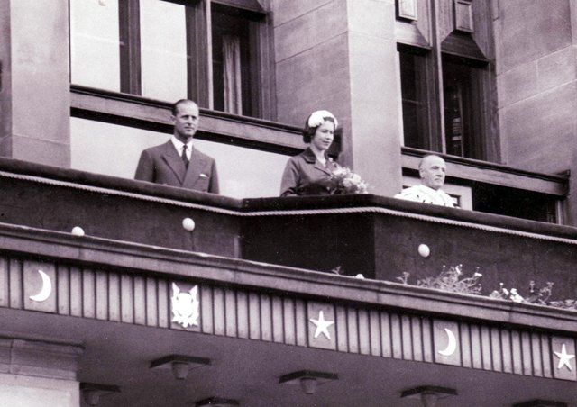 Prince Phillip and The Queen on the balcony at Kirkcaldy Town House in 1958