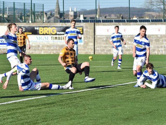 Kevin Smith supplies the finish which puts East Fife ahead. Pic by Kenny Mackay