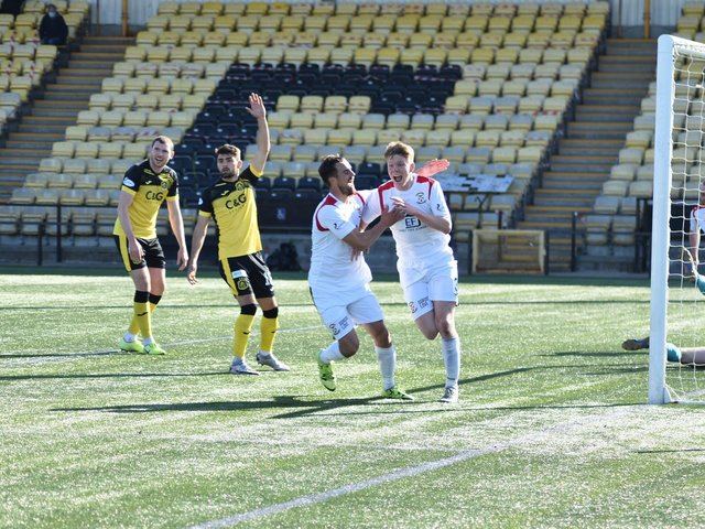 A delighted Aaron Steele wheels away after hitting East Fife's second. Pic by Kenny Mackay