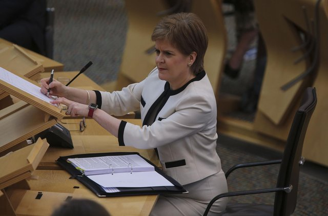 First Minister Nicola Sturgeon during First Minister's Questions at the Scottish Parliament in Holyrood.