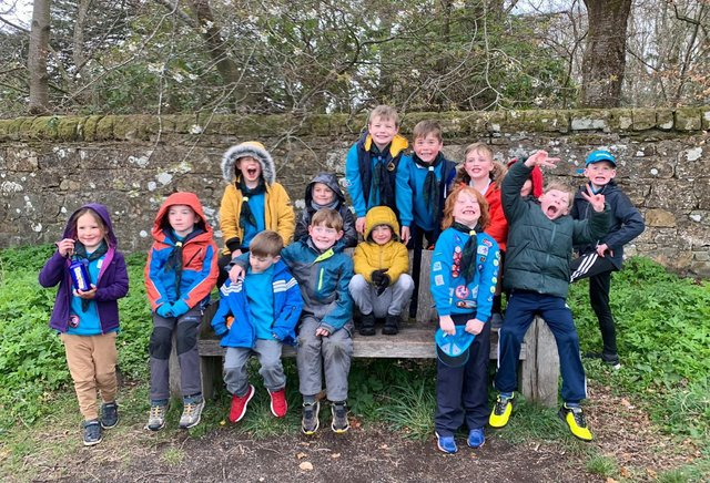 Beavers did a walk to raise funds for the re-build.