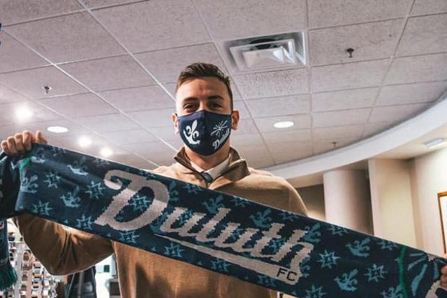 Scott Wilson has signed for a title winning club in America. Picture by Holden Law, Duluth FC photographer