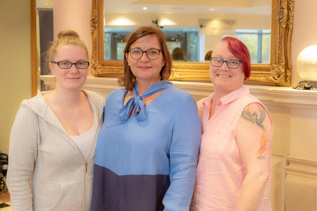 HD Specialist Jillian (centre) with Marianne Armit and her daughter Kerri, who have all volunteered in the pop up shop.