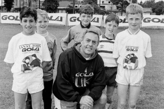 Former Liverpool and Scotland star Ian St John hosting his annual soccer camp, staged at Kirkcaldy High School in summer holidays, late 1980s (Pic: Bill Dickman/.Fife Free Press)