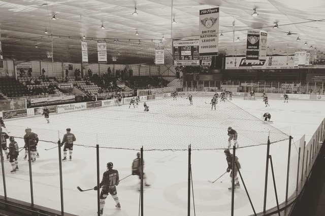 The view looking down the ice pad at Fife Ice Arena