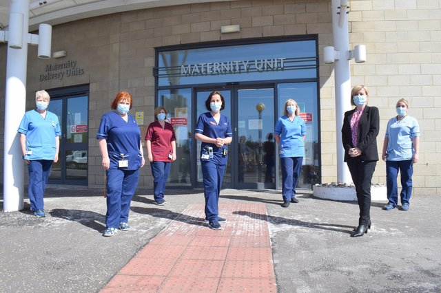 Maternity services staff outside the Victoria Hospital in Kirkcaldy