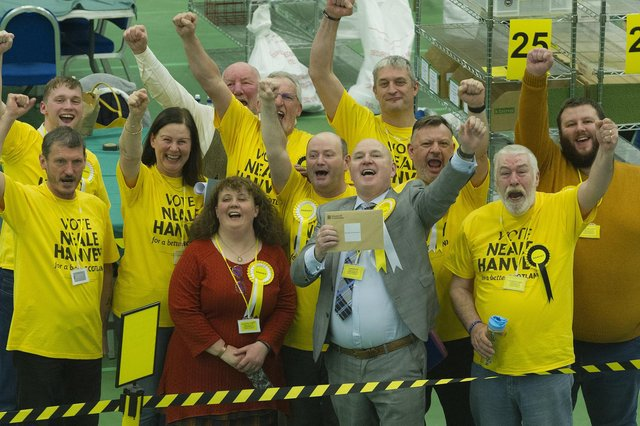Election night: Neale Hanvey wins the Kirkcaldy and Cowdenbeath seat (Pic: George McLuskie)