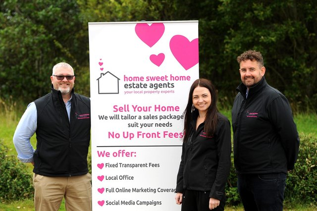 Scott Galloway pictured at the launch of Home Sweet Home Fife estate agents last September with Alex Mackenzie and Ross Edwards.  (Pic: Fife Photo Agency)