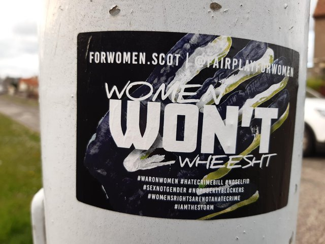 The stickers placed on lamp posts in one Kirkcaldy street sparked a huge social media backlash (Pic: Fife Free Press)