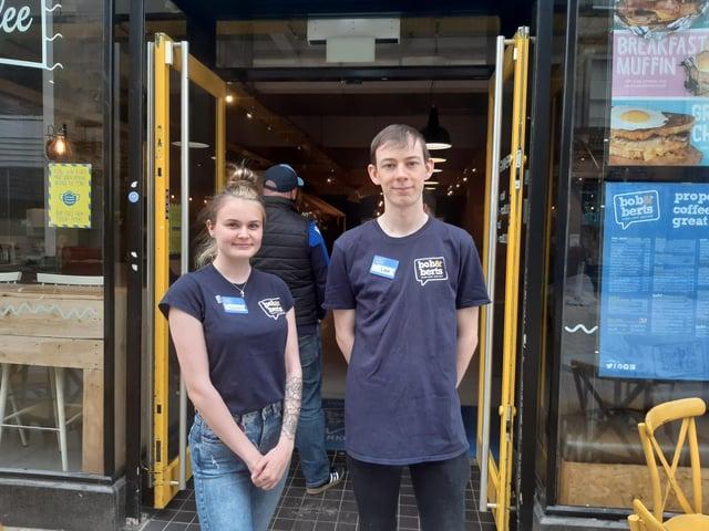 Lauren McDonough, supervisor and Lee Watson, kitchen porter at Bob & Berts in Kirkcaldy High Street.