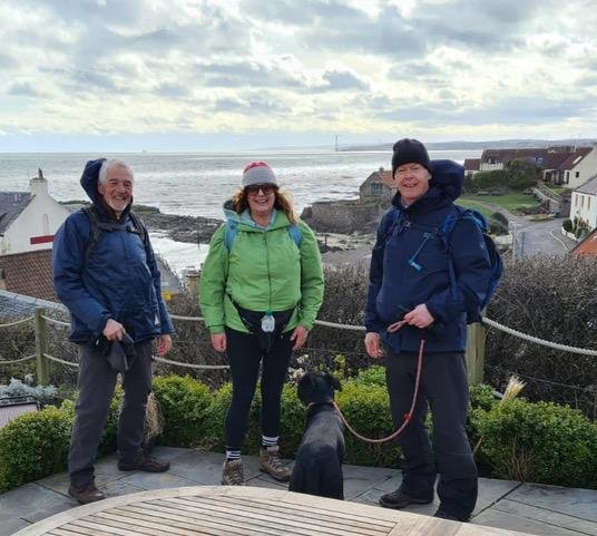 Three members of the Rotary Club of Kirkcaldy  - Bill Stewart, Caroline King and Mark Rossiter walked the Fife Coastal Path to raise funds for their club. Pic: George McLuskie.