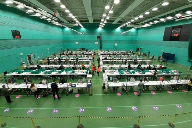 The count scene at Michael Woods Sports centre (Pic: Jon Brady)