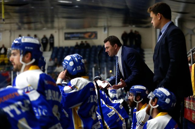 Jeff Hutchins, centre, on the bench at a Fife Flyers game at Fife Ice Arena (Pic: Steve Gunn)