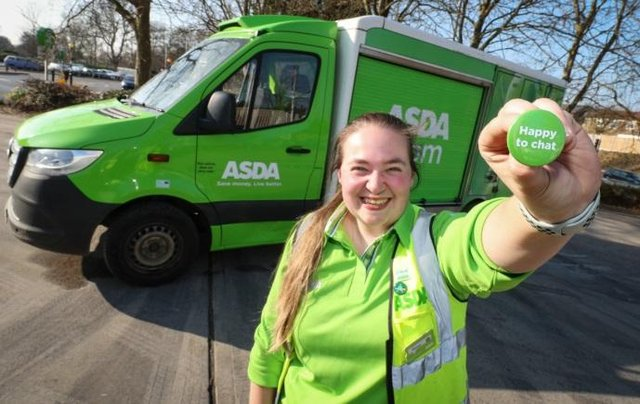 Asda's 7500 delivery drivers across the country now have the option to wear a Happy to Chat badge.