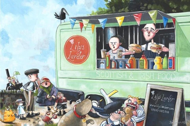 A painting of Lily's Larder by local artist, Iain Green.