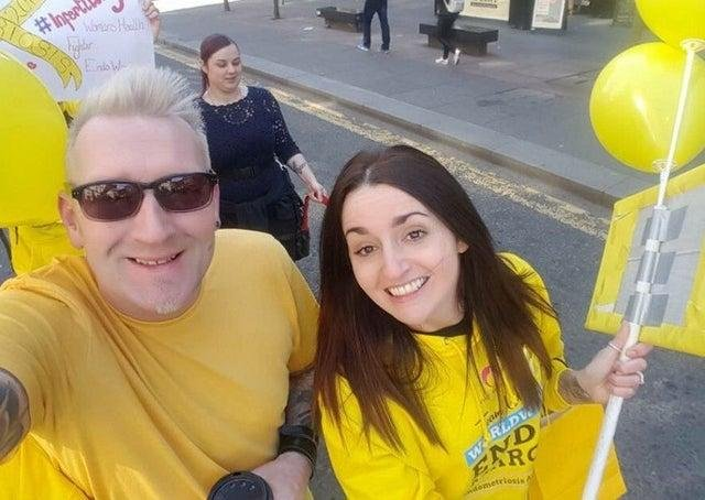 Claire, pictured with her husband Scott, has previously held local events to raise awareness of endometriosis.
