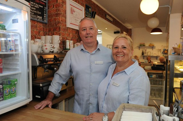 Gill and Graham Robertson owned and worked in Robertson's coffee shop for eight years. They have now sold the business after opting for early retirement. Pic: George McLuskie.