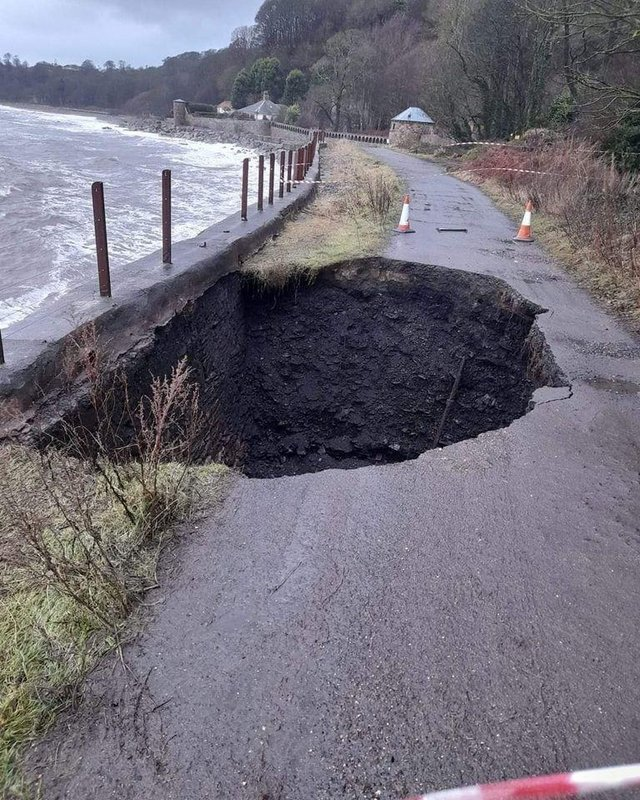 The large hole which appeared on the Fife Coastal Path between Dysart and West Wemyss has now been repaired. Fife Coast and Countryside Trust said the erosion happened after sea wall was damaged which allowed the sea to suck/hoover out the path materials behind the damaged wall. Picture: Fife Jammer Locations.
