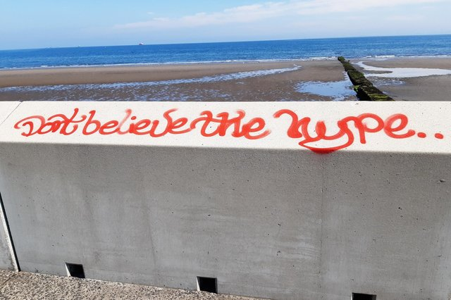 'Don't believe the hype' slogan spray-painted on the wall at Kirkcaldy waterfront - one of a number of acts of vandalism reported to the police
