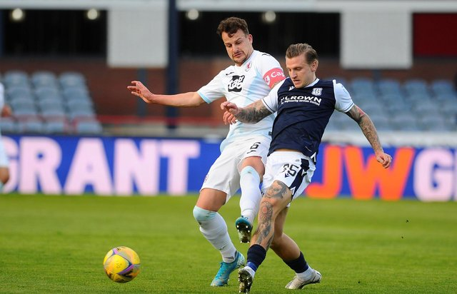 Kyle Benedictus challenges with Dundee's Jason Cummings.