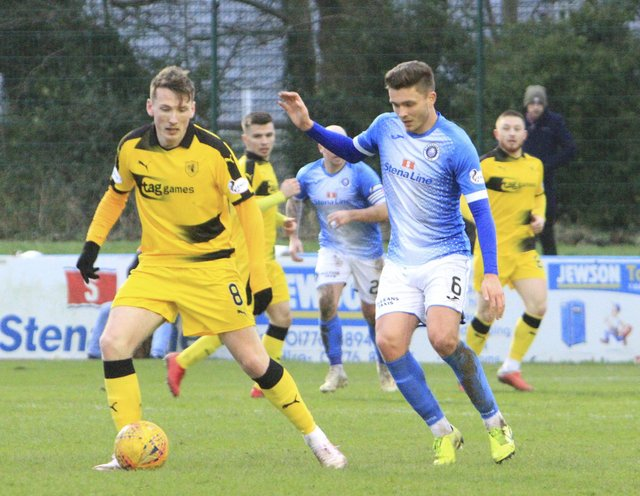 Regan Hendry, who signed for Forest Green Rovers this week, in action for Raith against Stranraer last year