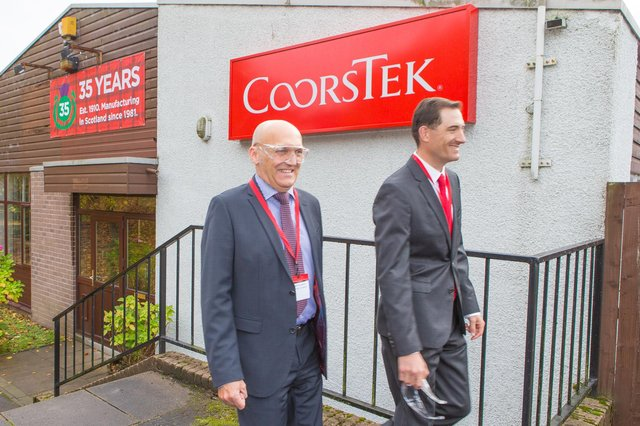 Coorstek's executive vice-president Andreas Schneider (left) and chief executive officer Timothy Coors on a visit to the Glenrothes plant in 2016.