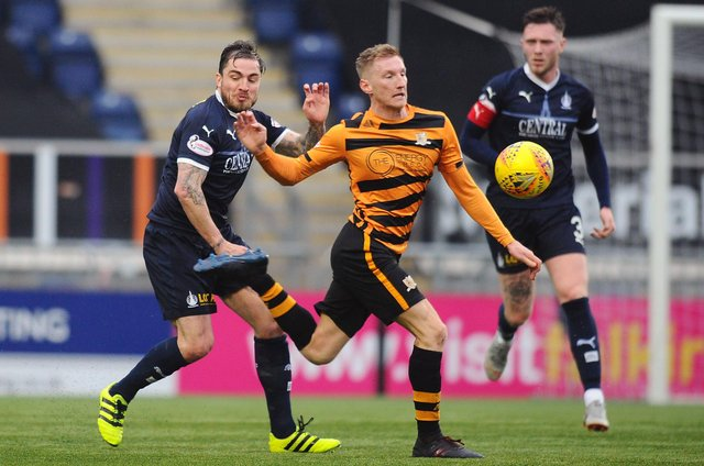 New Raith signing Liam Dick (right) in action for Alloa (Pic: Michael Gillen)