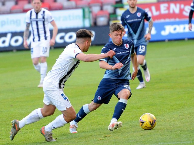 Kai Kennedy in action against Dunfermline (Pic: Fife Photo Agency)