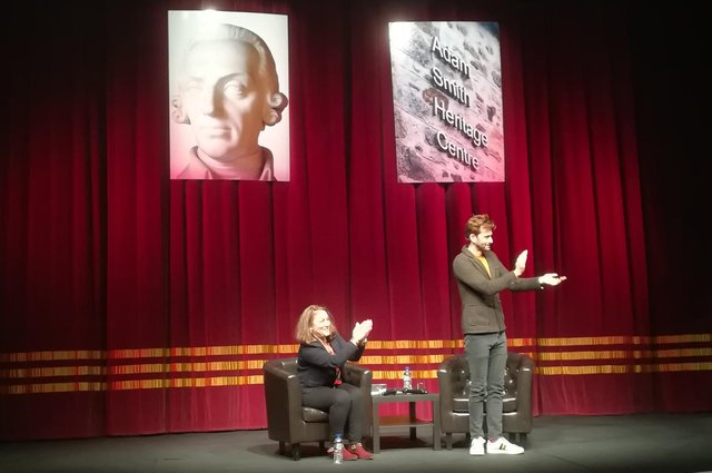 David Tennant on stage at the Adam Smith Theatre, Kirkcaldy for the 2018 Festival of Ideas, in a Q&A with Arabella Weir