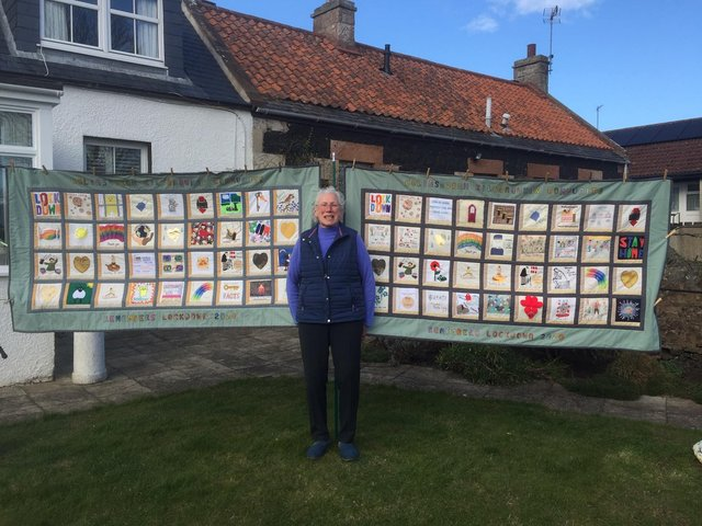 Elizabeth with the quilts.