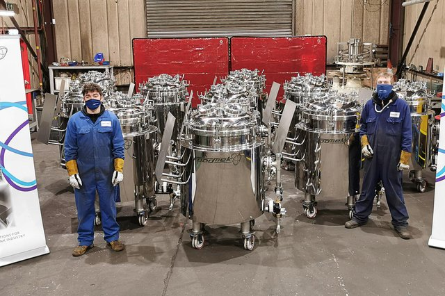 Investment in people, as well as the production of several high-specification vessels for a Covid-19 test kit maker, has helped the company bounce back strongly from a decrease in orders caused by lockdowns. Pictured are Stevie Clark (left) and Aaron Clark (right). Picture: Ross Waite