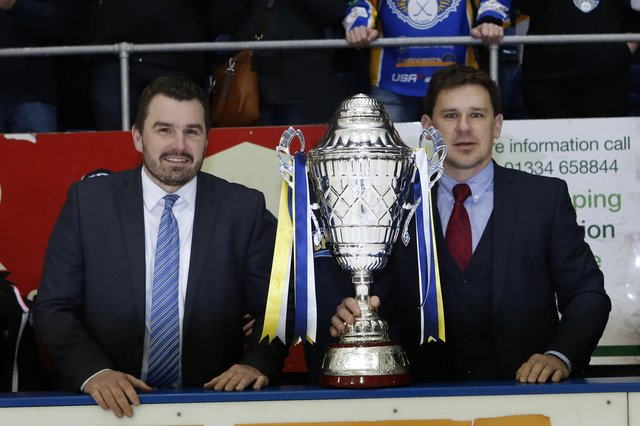 Fife Flyers assistant coach Jeff Hutchins (left) and head coach Todd Dutiaume with the Gardiner Conference trophy. Pic: Steve Gunn
