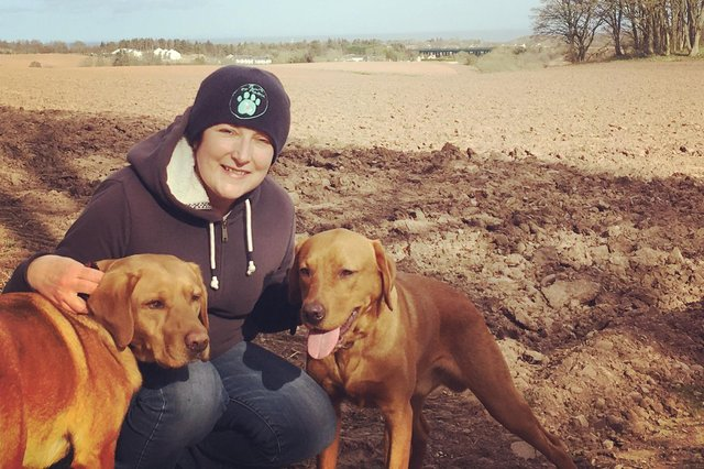 Marion with her dogs Paddy and Ted.