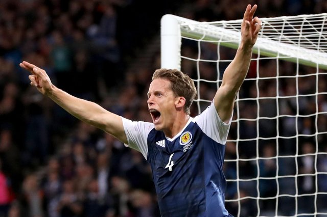 Christophe Berra, pictured celebrating after scoring for Scotland against Malta in September 2017, is joining Raith Rovers  (Photo by Ian MacNicol/Getty Images)