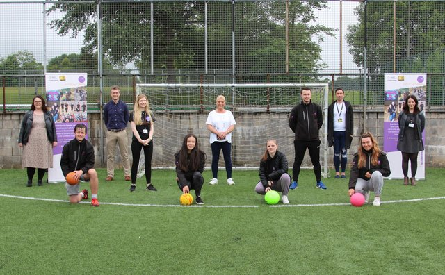 Councillor Rosemary Liewald (centre) with partners and leaders from Scottish Sports Futures.