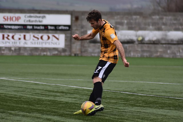Danny Denholm tries his luck for East Fife during the first half