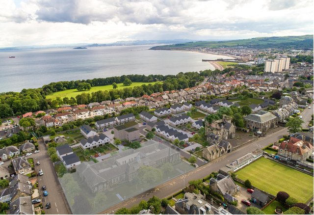 An aerial shot of the Viewforth development site. Pic: Whiteburn Projects.