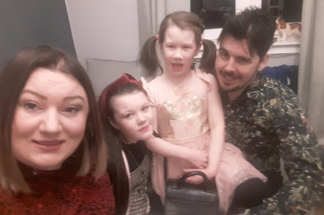 Emma Pauley and partner John McGuinness with their daughters Kasie and Millie McGuinness.