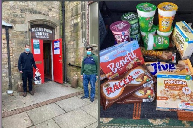 Ahmadiyya Muslim Community members delivering treats to a Covid testing centre in Kirkcaldy.