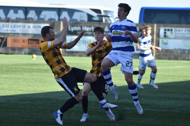 Kevin Smith and Liam Newton are in the thick of the action during Saturday's cup tie against Greenock Morton. Pic by Kenny Mackay