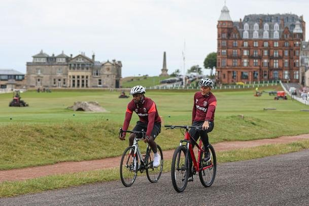 Michail Antonio and Mark Noble head off for a cycle around the Old Course. Pic courtesy West Ham FC