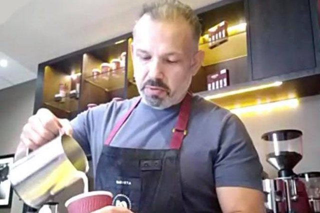 Rodolfo Sanchez, barista manager at Aramark, demonstrates how to make the perfect coffee during an online barista masterclass for Fife College students.