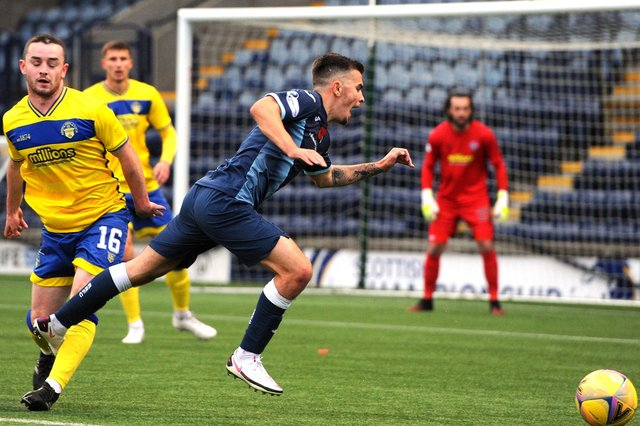 Dan Armstong is fouled in the box for a penalty in this match at home to Morton (picture by Fife Photo Agency)