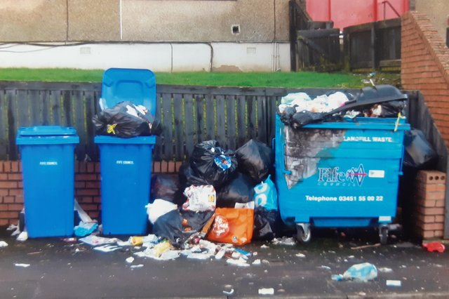 Some of the bins on Dallas Drive, Kirkcaldy  that have been used as a dumping ground