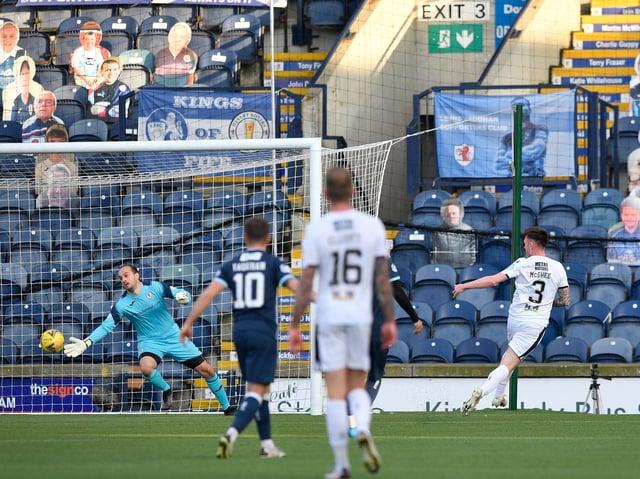Jordan McGhee puts the ball past Raith Rovers goalkeeper Jamie MacDonald to open the scoring (Pic: Dave Johnston)
