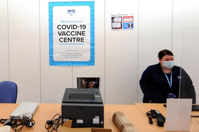 Registration at the new mass vaccine centre in Kirkcaldy (Fife Photo Agency)