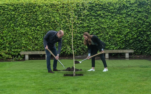 The Duke and Duchess planted the first tree during their visit to St Andrews.