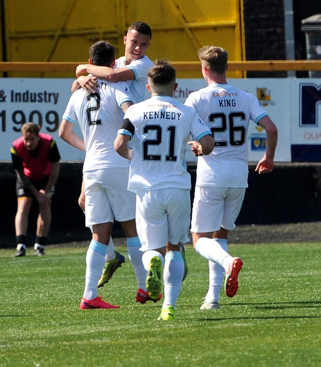 Dylan Tait celebrates after  scoring against Alloa (Pic: Fife Photo Agency)
